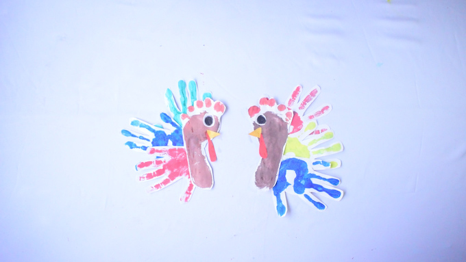 Assembled Turkey Footand Handprint Craft