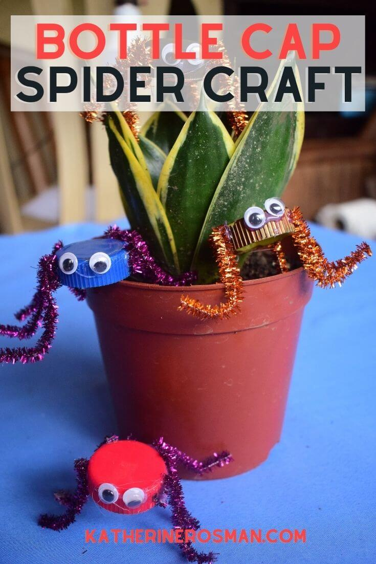 Bottle Cap Spider Craft Activity for Halloween