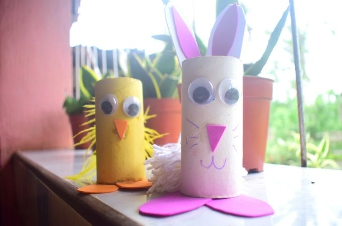Completed Toilet Roll Easter Craft