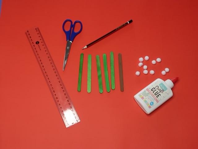 Craft Stick Xmas Tree Materials