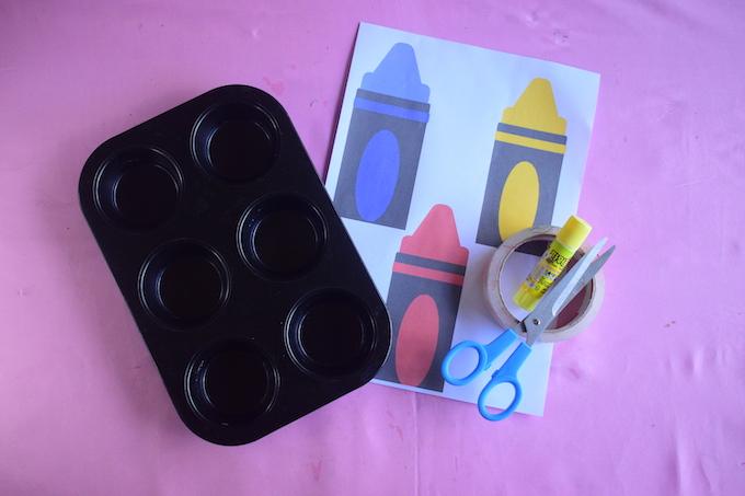 Cupcake Tray Crayon Sorter Materials