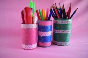 DIY Tin Can Desk Organizers