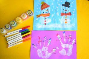 Hand and Fingerprint Snowman Craft