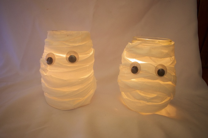 Mason Jar Mummy Craft Decoration for Halloween