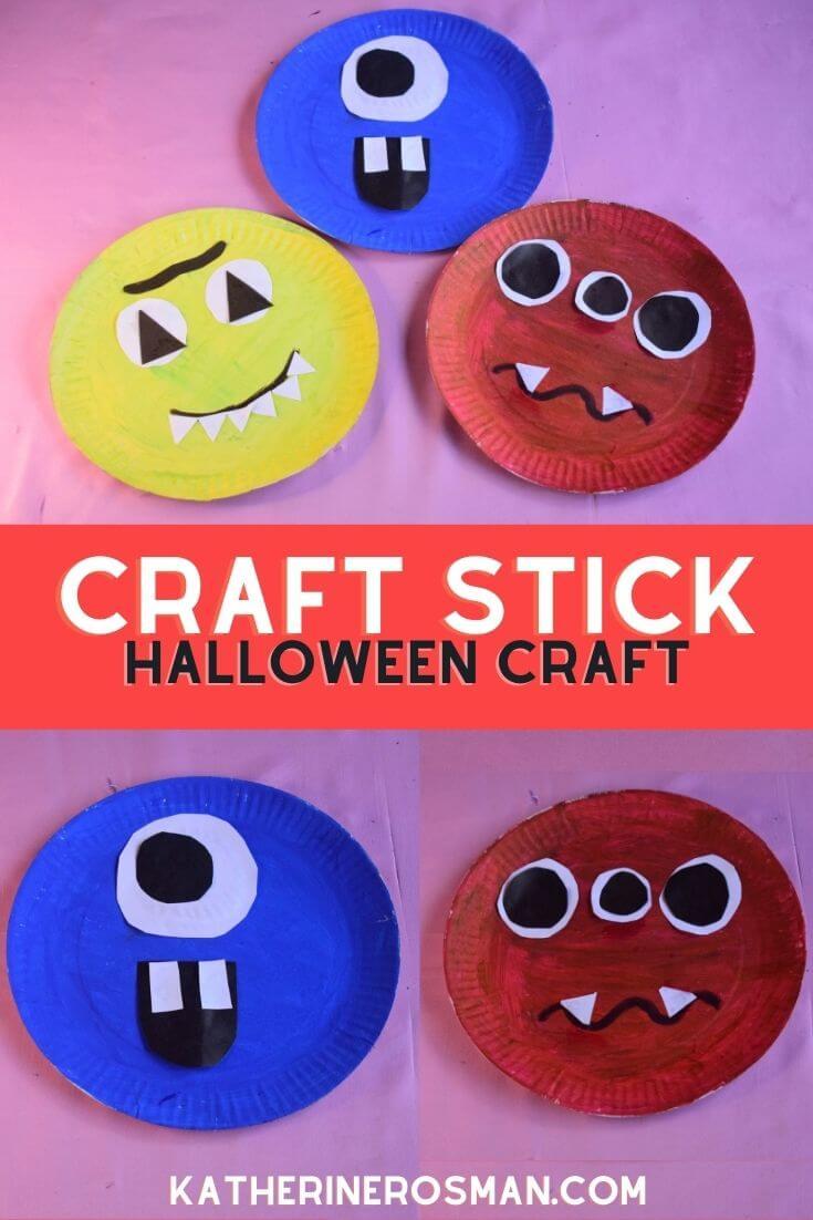 Paper Plate Halloween Monster Craft Idea for Kids