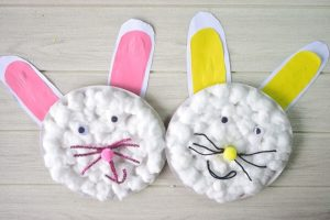 Paper Plate and Cotton Ball Easter Bunny Craft Idea