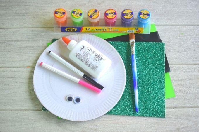 Paper plate leprechaun craft materials