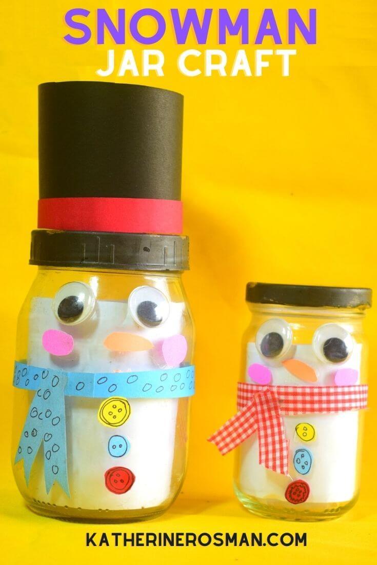 Snowman Jar Craft Activity for Kids