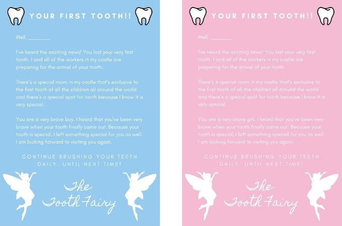 Tooth Fairy Letter - First Tooth